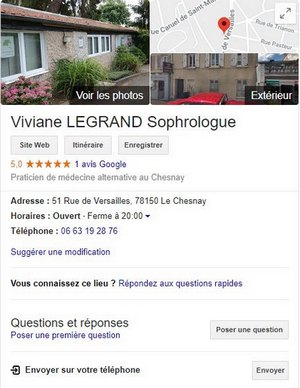 créer page google my business sophrologue